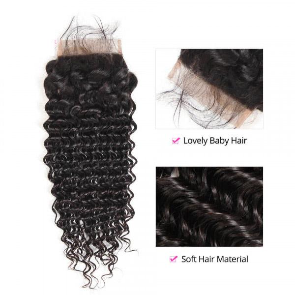 Deep Wave Virgin Hair 5*5 Lace Closure Human Hair Closure 4