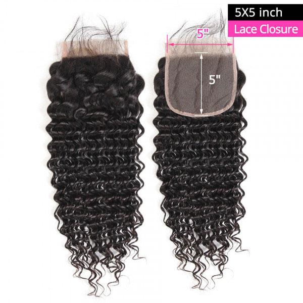 Deep Wave Virgin Hair 5*5 Lace Closure Human Hair Closure 8