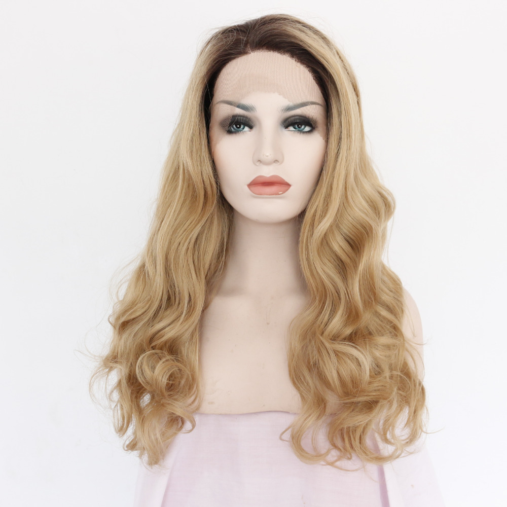 Fashion Body Wave Long Blonde Ombre Front Lace Wig for Women