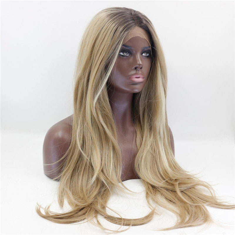 Fashion Brown to Blonde Ombre Long Front Lace Wig For Women