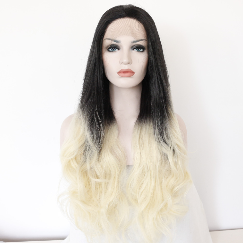Fashion Glueless Ombre Wavy Synthetic Lace Front Wig