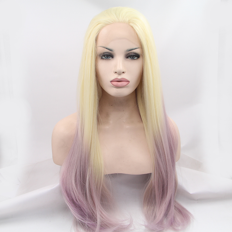 Fashion Ombre Blonde Silk Synthetic Glueless Lace Front Wig
