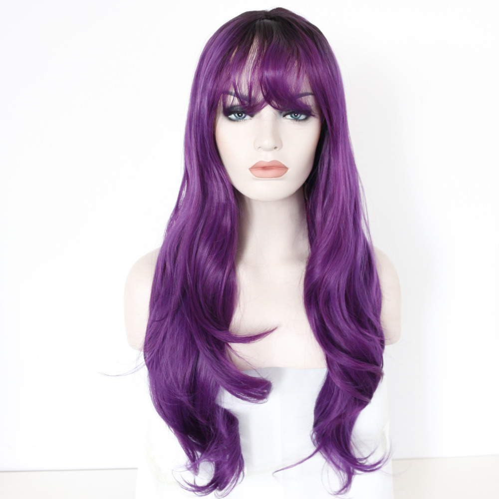 Fashion Purple Ombre Wavy Synthetic Lace Front Wigs
