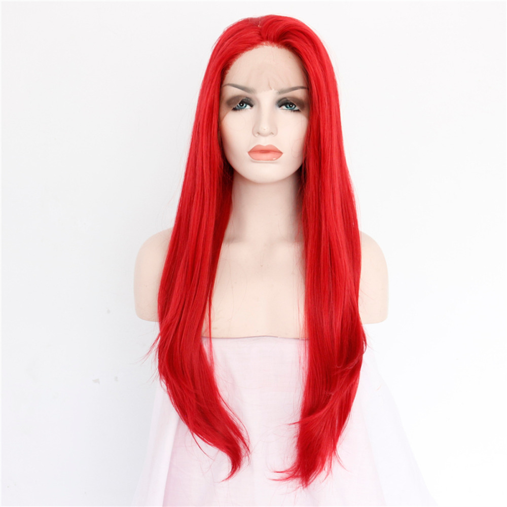Fashion Red Straight Synthetic Front Lace Wig
