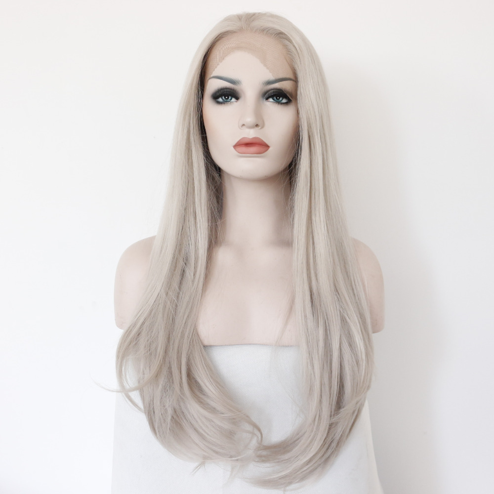 Fashion Straight Glueless Synthetic Grey Lace Front Wig