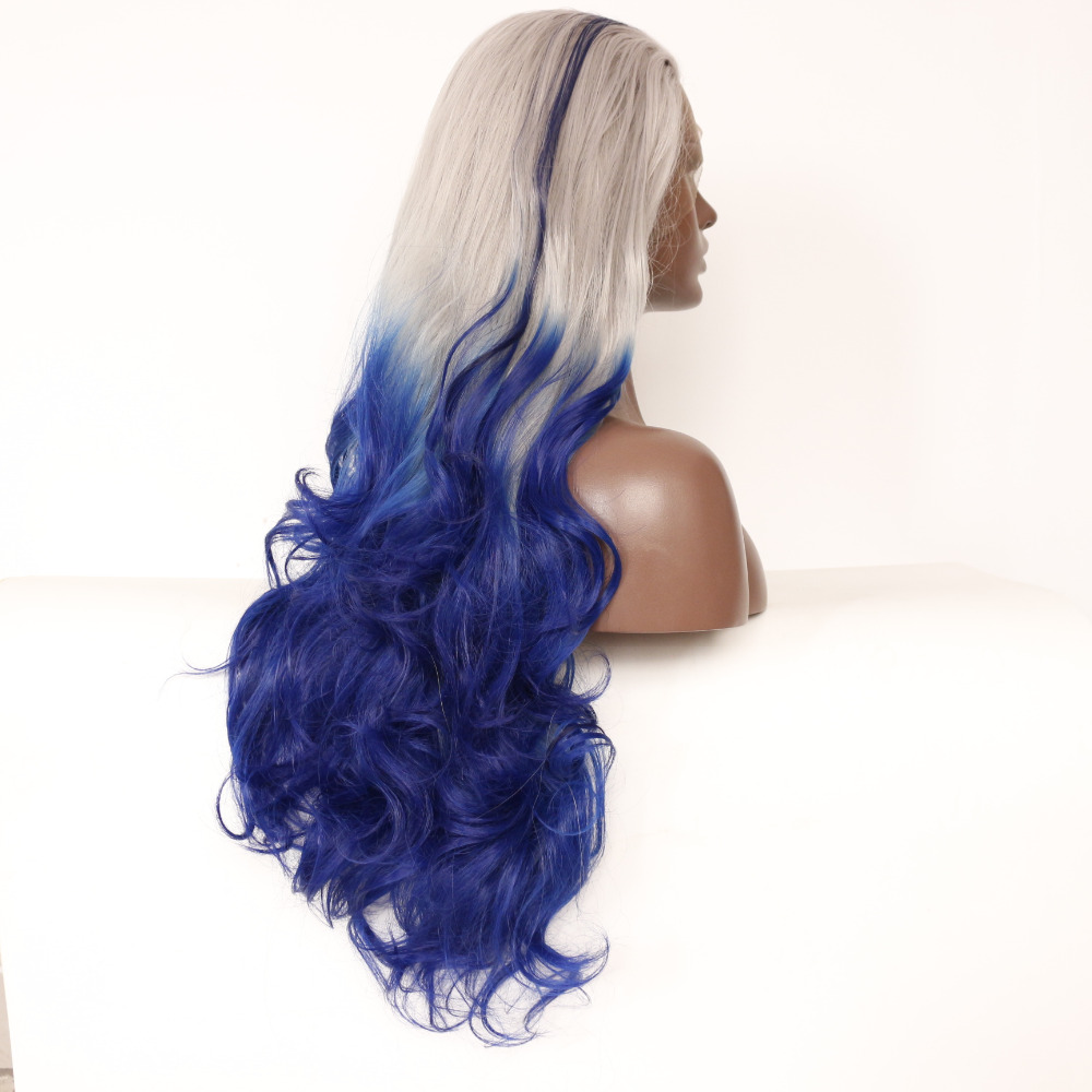 Fashion Wave Grey To Blue Ombre Synthetic Lace Front Wig 1