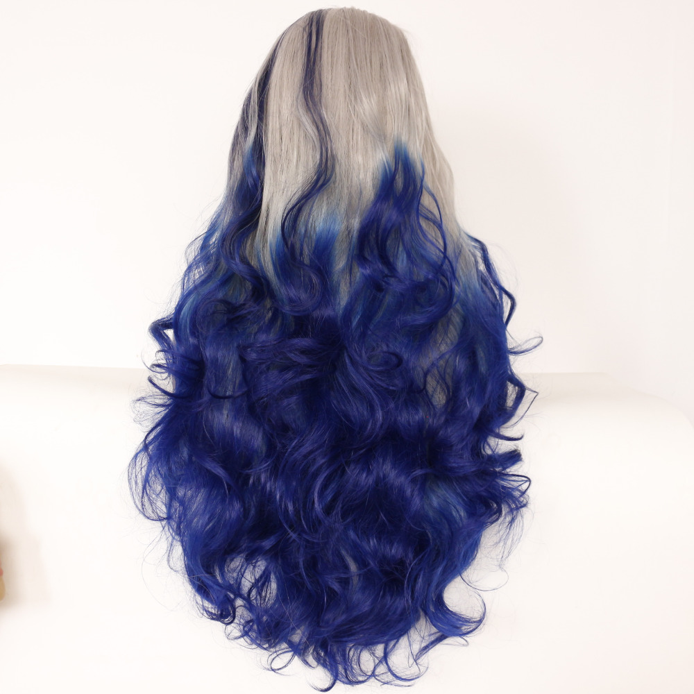 Fashion Wave Grey To Blue Ombre Synthetic Lace Front Wig 2
