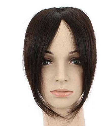 Fashion Womens Real Human Hair Middle Part Bangs/Fringe Hand Tied Lace Bangs Clip In Hair Extension 1B#