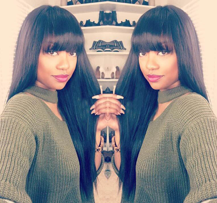Full Bangs Glueless Lace Front Wigs Brazilian Virgin Human Hair Yaki Straight Wig With Bangs 0