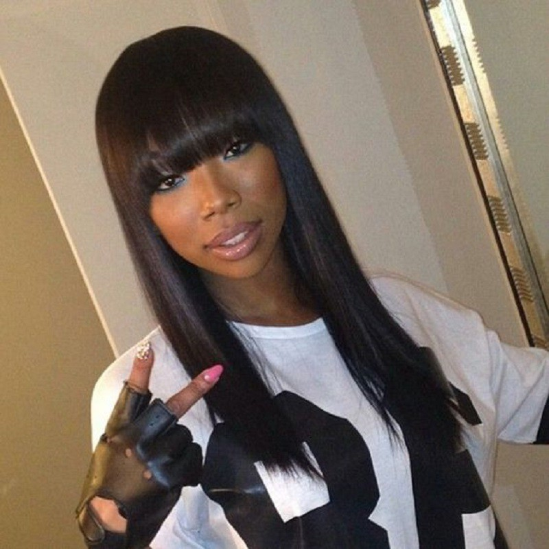 Full Bangs Lace Front Wigs Yaki Straight, Indian Remy Hair