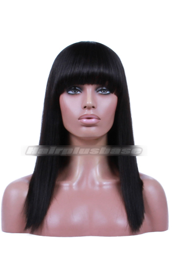 Indian Remy Hair Full Bangs One Length Bob 150% Thick Density Yaki Straight Glueless Non-lace Wigs With Natural Looking Silk Top Hair Whorl