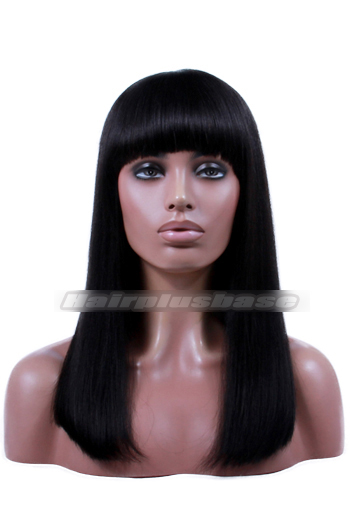 Indian Remy Hair Full Bangs Thick Bob 150% Density Yaki Straight Glueless Non-lace Wigs With Natural Looking Silk Top Hair Whorl