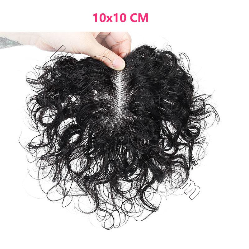 Full Handmade Mono Top Hair Piece Curly Human Hair Toppers for Women 3