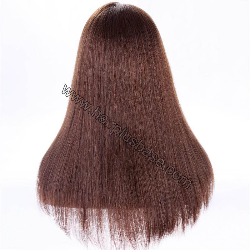 Full Lace Wigs #4/#30 Highlight Color Indian Remy Hair Yaki Straight Wig 1