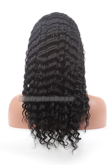 18 Inch #1 Black Chinese Virgin Hair Deep Wave Style Full Lace Wigs