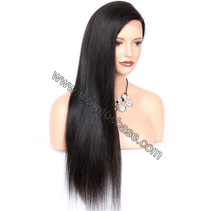Full Lace Wigs Peruvian Virgin Hair Yaki Straight 3