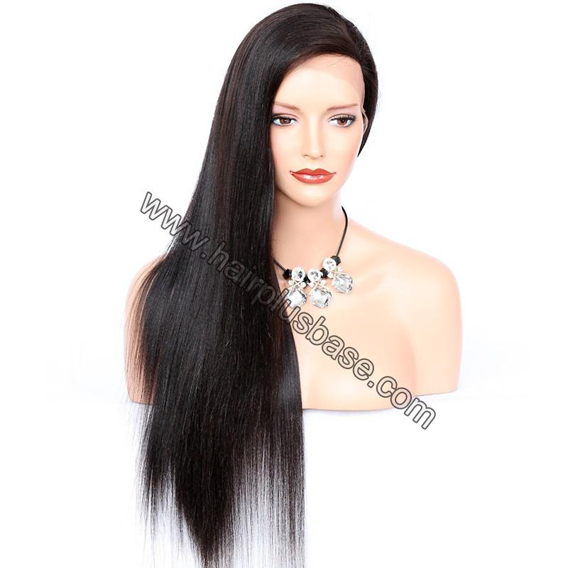 Full Lace Wigs Peruvian Virgin Hair Yaki Straight 4