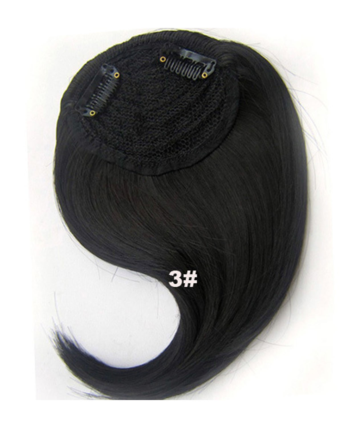 Girls Smooth Straight Short Bangs Clip in Synthetic Hair Extension Fringe Bangs Hairpiece 3#