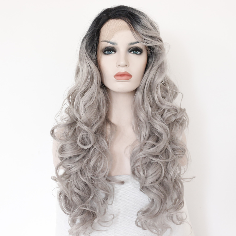 Glueless Black Boots Silver Grey Body Wave Synthetic Lace Front Wig