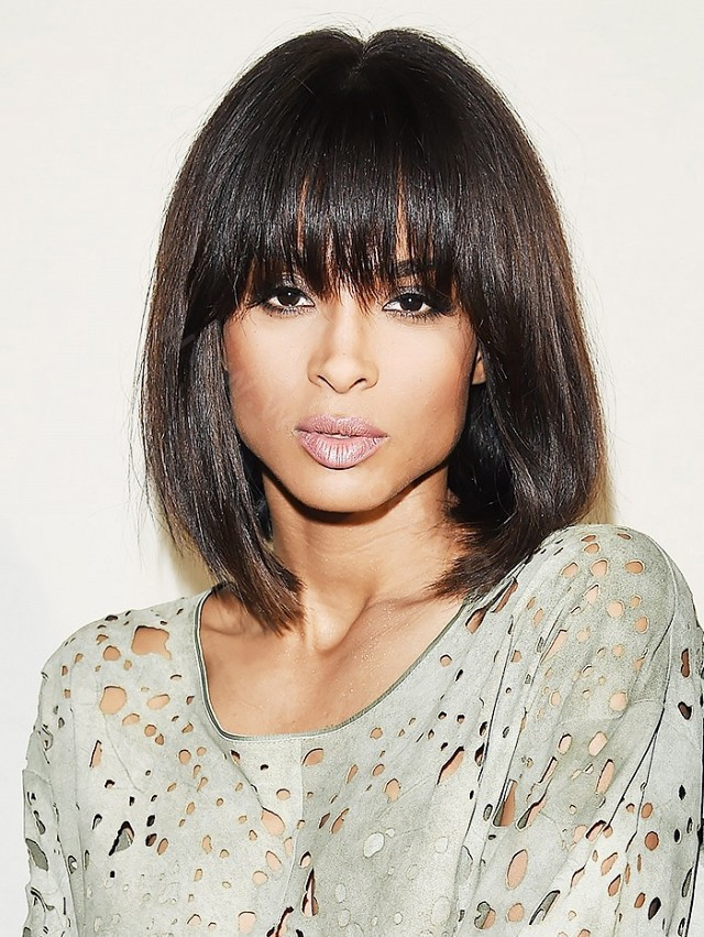 Glueless Full Bangs Bob Lace Front Wigs Indian Remy Hair Light Yaki Straight 0