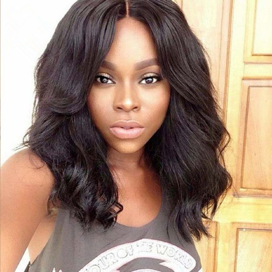 Glueless Full Lace Wigs Indian Remy Hair Middle Part Body Wave Bob Style