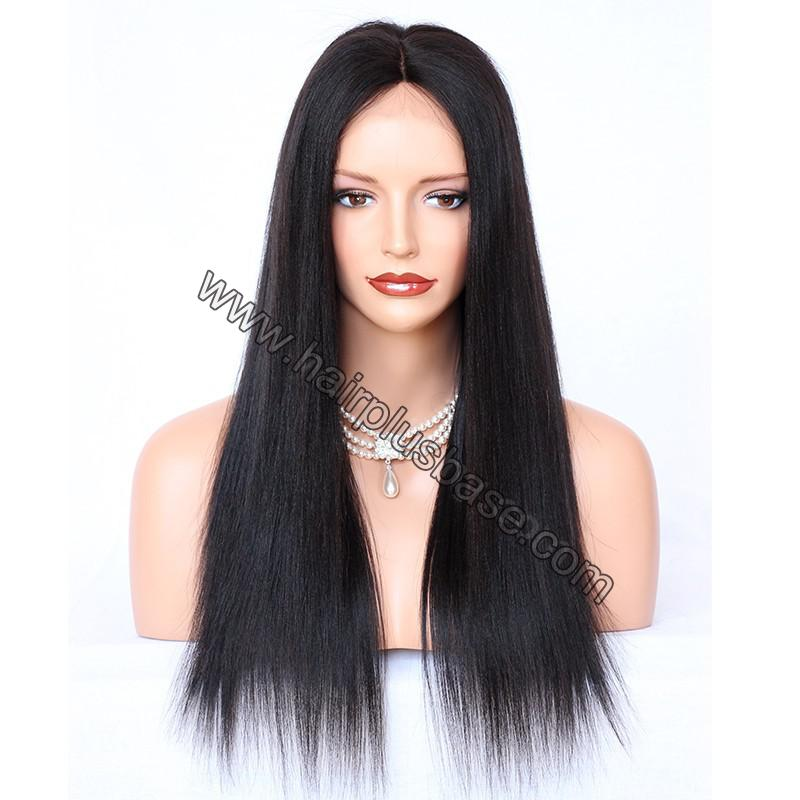 Glueless Full Lace Wigs Indian Remy Hair Yaki Straight 1
