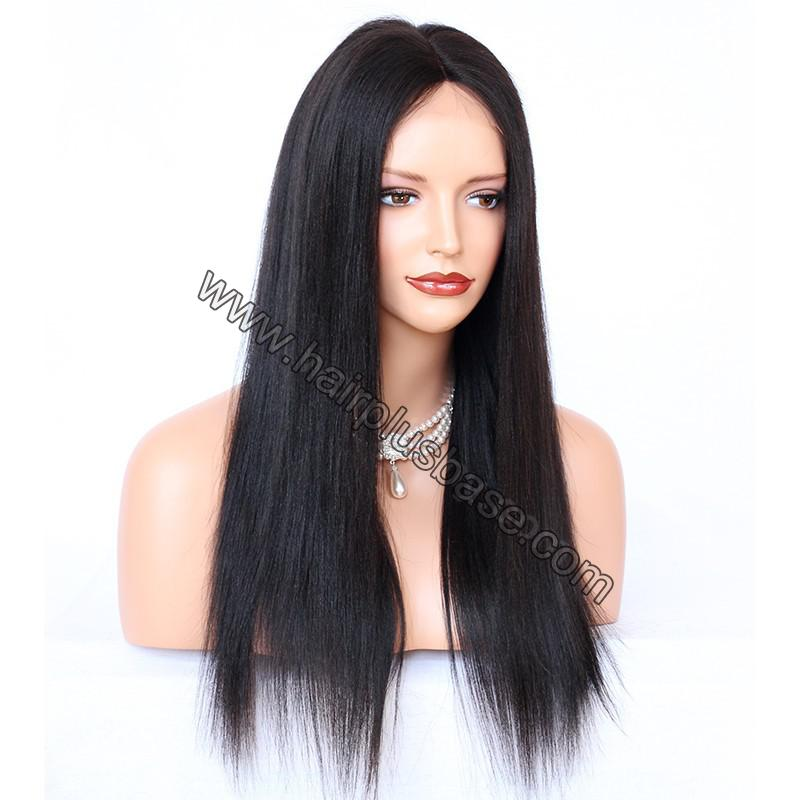Glueless Full Lace Wigs Indian Remy Hair Yaki Straight 2