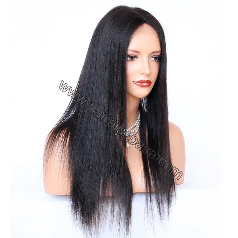 Glueless Full Lace Wigs Indian Remy Hair Yaki Straight 3
