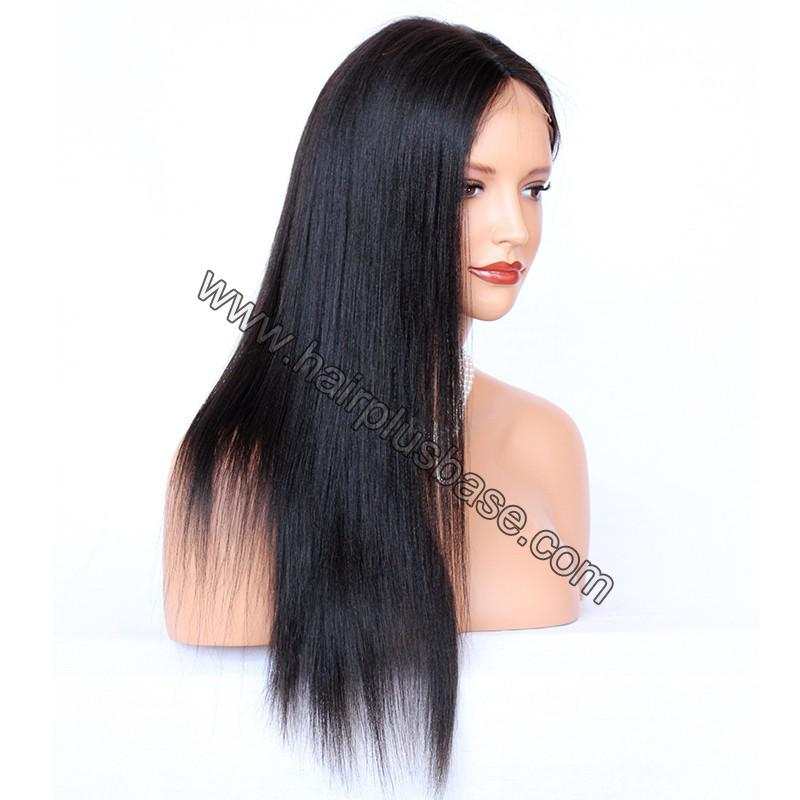 Glueless Full Lace Wigs Indian Remy Hair Yaki Straight 4