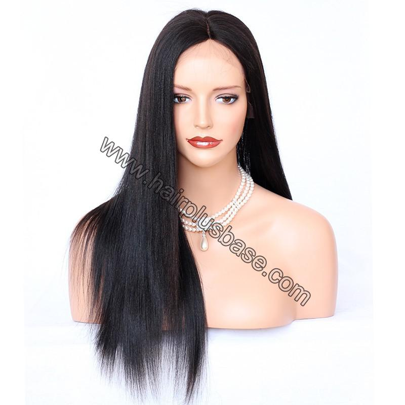 Glueless Full Lace Wigs Indian Remy Hair Yaki Straight 5