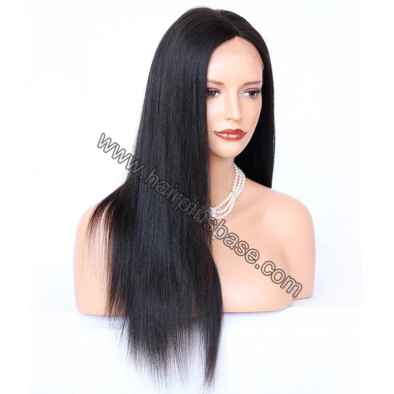 Glueless Full Lace Wigs Indian Remy Hair Yaki Straight 6