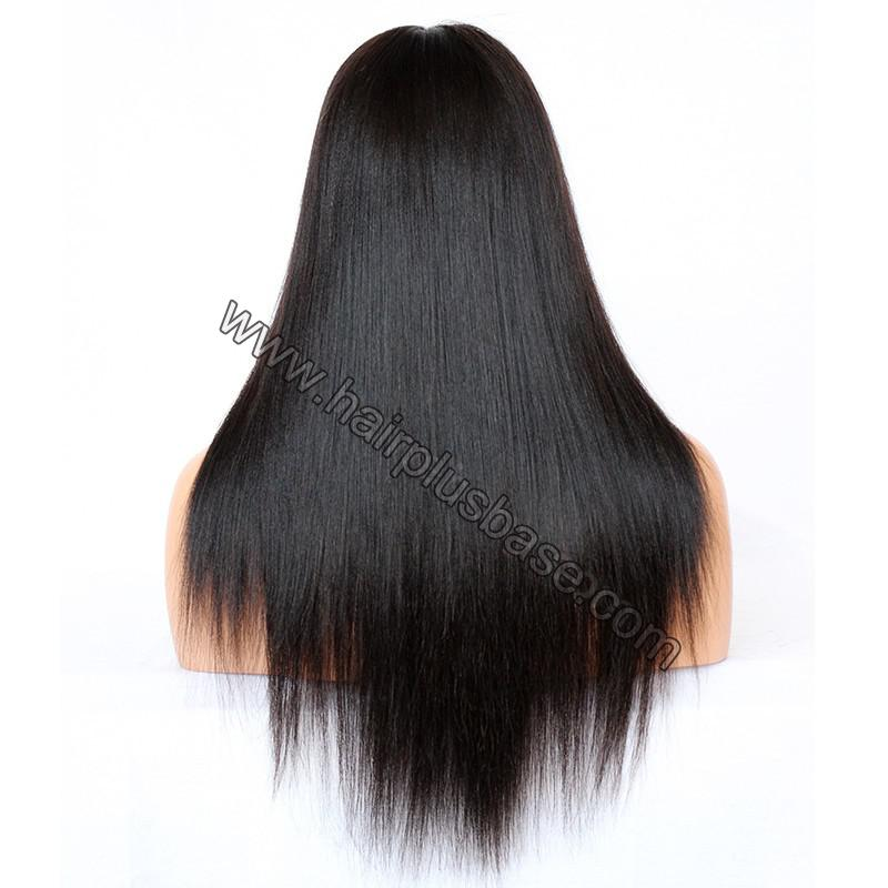 Glueless Full Lace Wigs Indian Remy Hair Yaki Straight 7
