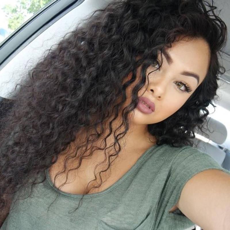 Glueless Full Lace Wigs Peruvian Virgin Hair Loose Curly