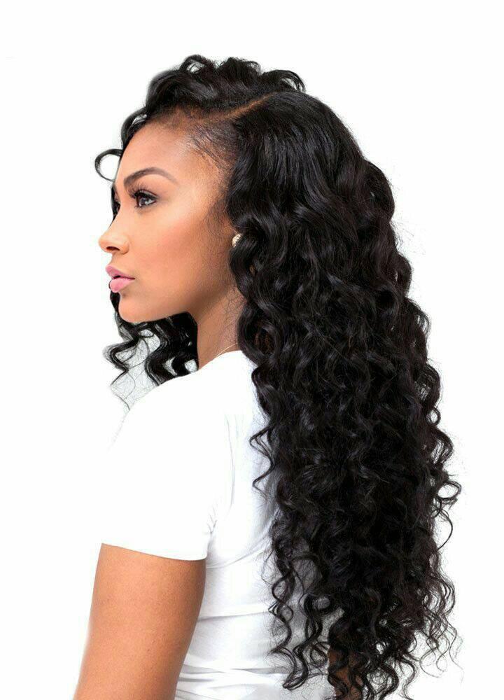 Glueless Full Lace Wigs Peruvian Virgin Hair Loose Deep