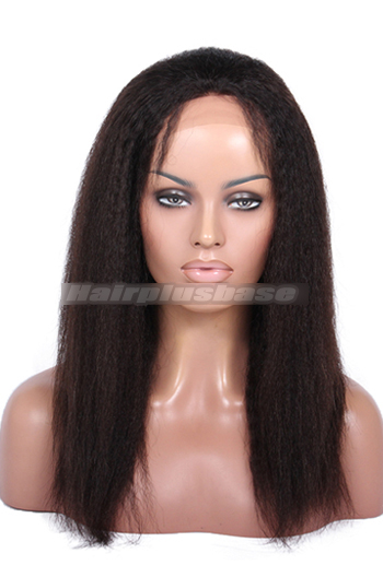 14 Inch Italian Yaki Brazilian Virgin Hair Glueless Lace Front Wigs