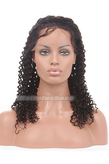 18 Inch Deep Curl Chinese Virgin Hair Glueless Lace Front Wigs