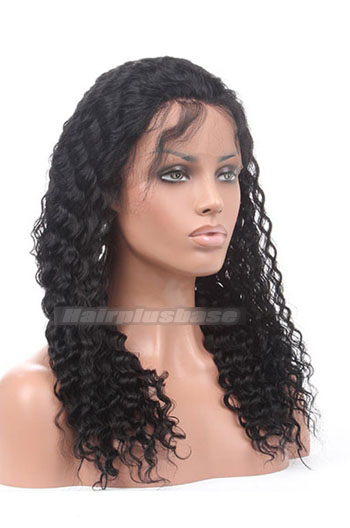 18 Inch Deep Wave Chinese Virgin Hair Glueless Lace Front Wigs