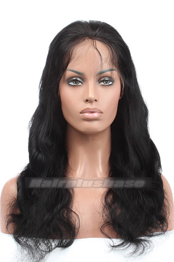 18 Inch #1 Black Body Wave Indian Remy Hair Glueless Lace Front Wigs