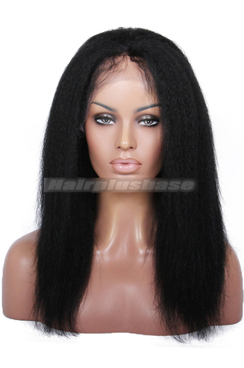 14 Inch Italian Yaki #1 Black Indian Remy Hair Glueless Lace Front Wigs