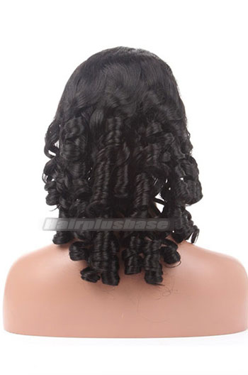 Spiral Curl Indian Remy Hair Glueless Lace Front Wigs