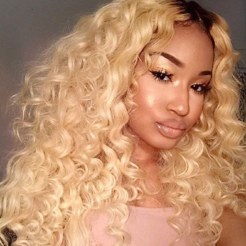 Glueless Lace Front Wigs Peruvian Virgin Hair Curly Ombre Wigs NC/613