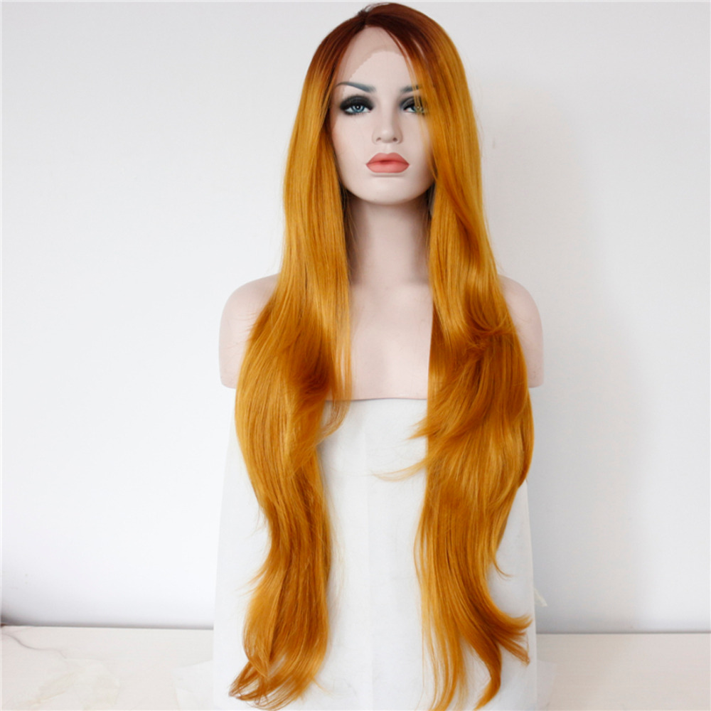 Glueless Nature Wavy Two Colors Ombre Synthetic Lace Front Wigs