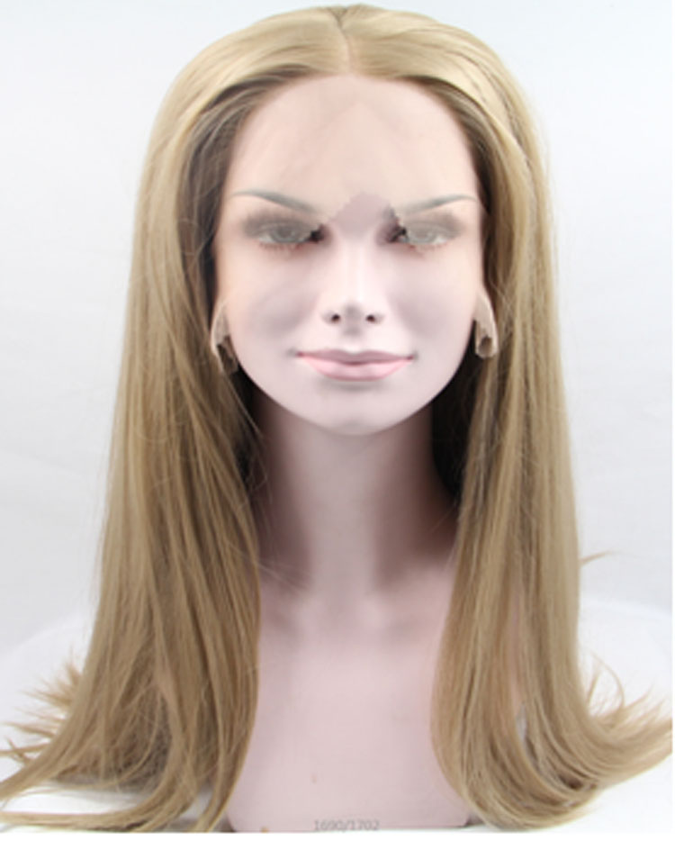 Glueless Ombre Blonde Silk Straight Lace Front Synthetic Wig