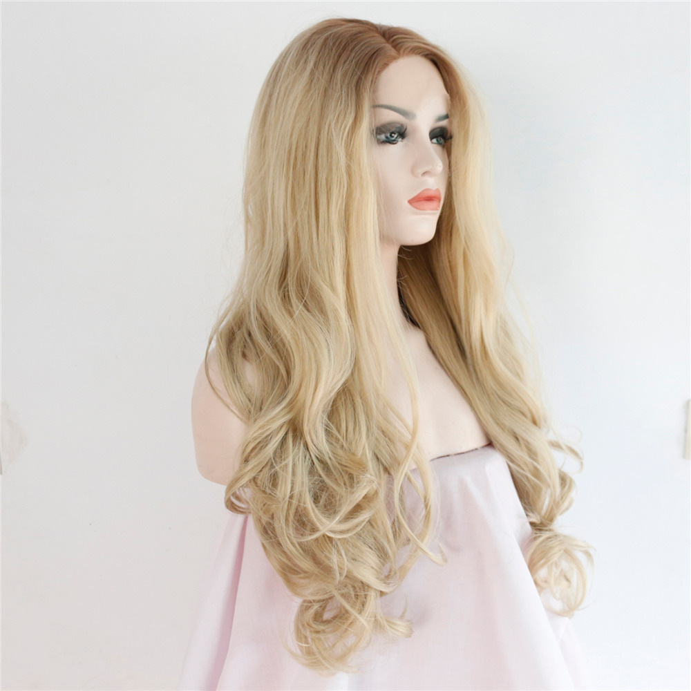 Glueless Wavy Ombre Brown Blonde Synthetic Lace Front Wig