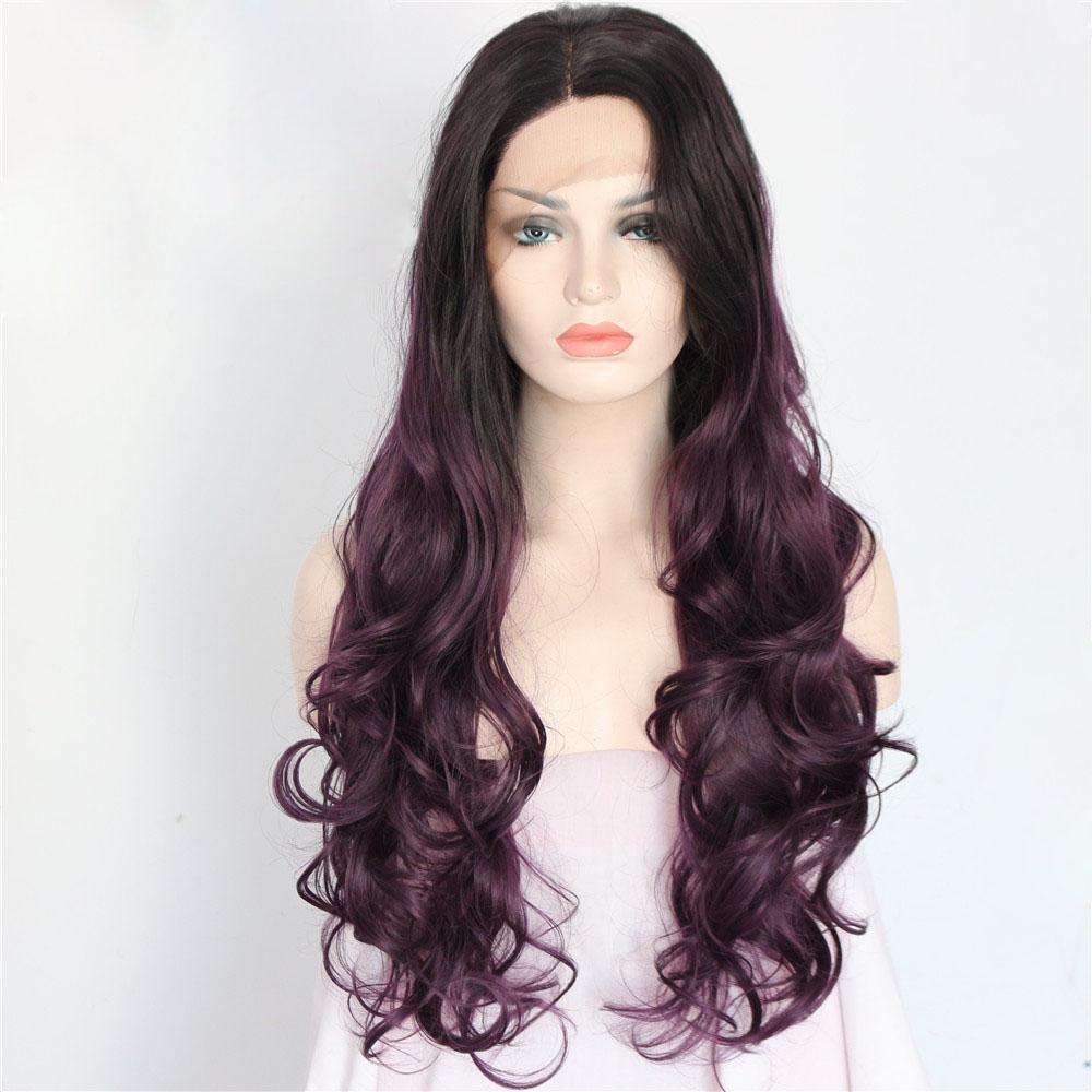 Graceful Long Purple Dark Roots Wavy Lace Front Wig