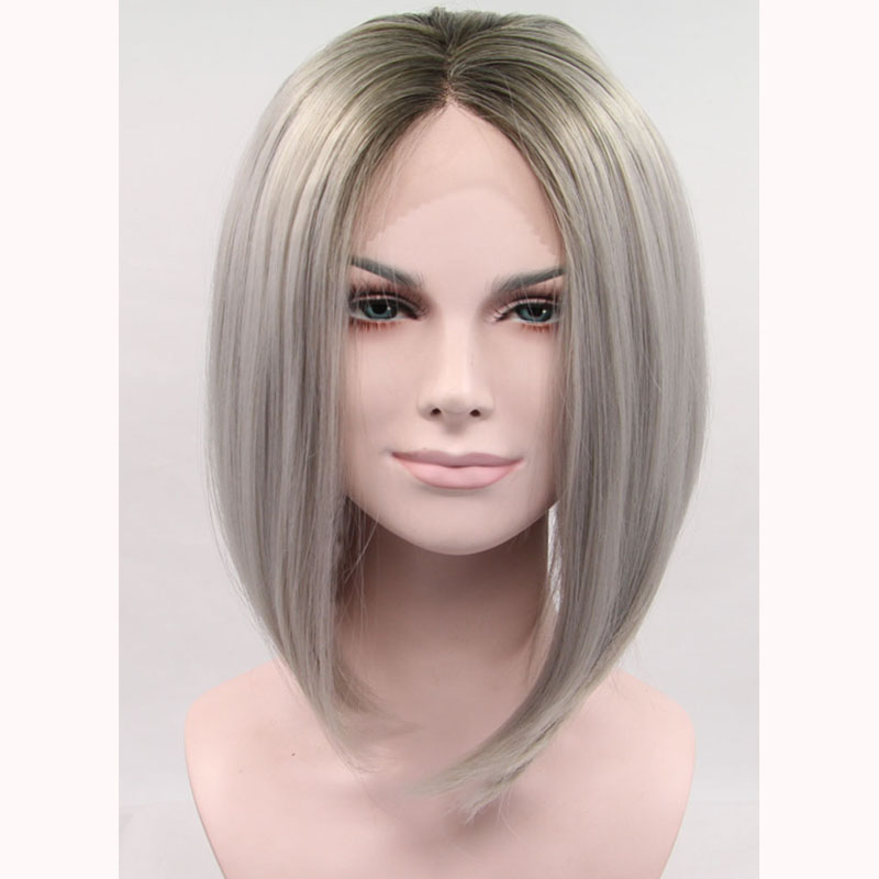 Gray Ombre Straight Bob Lace Front Wig