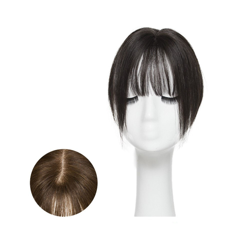 Hair Clip In 100% Human Hair Topper Piece Thin Air Bangs Fringe Remy Human Hairpiece (6x9CM Silk Base)