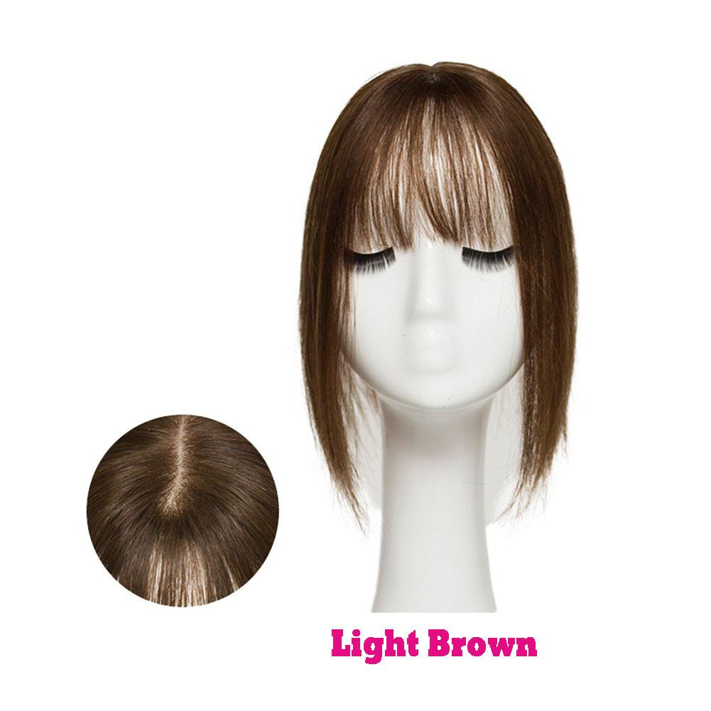Hair Clip In 100% Human Hair Topper Piece Thin Air Bangs Fringe Remy Human Hairpiece 3
