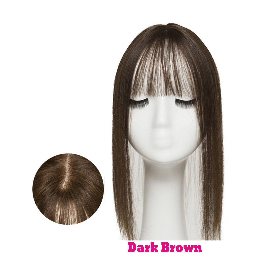 Hair Clip In 100% Human Hair Topper Piece Thin Air Bangs Fringe Remy Human Hairpiece 5