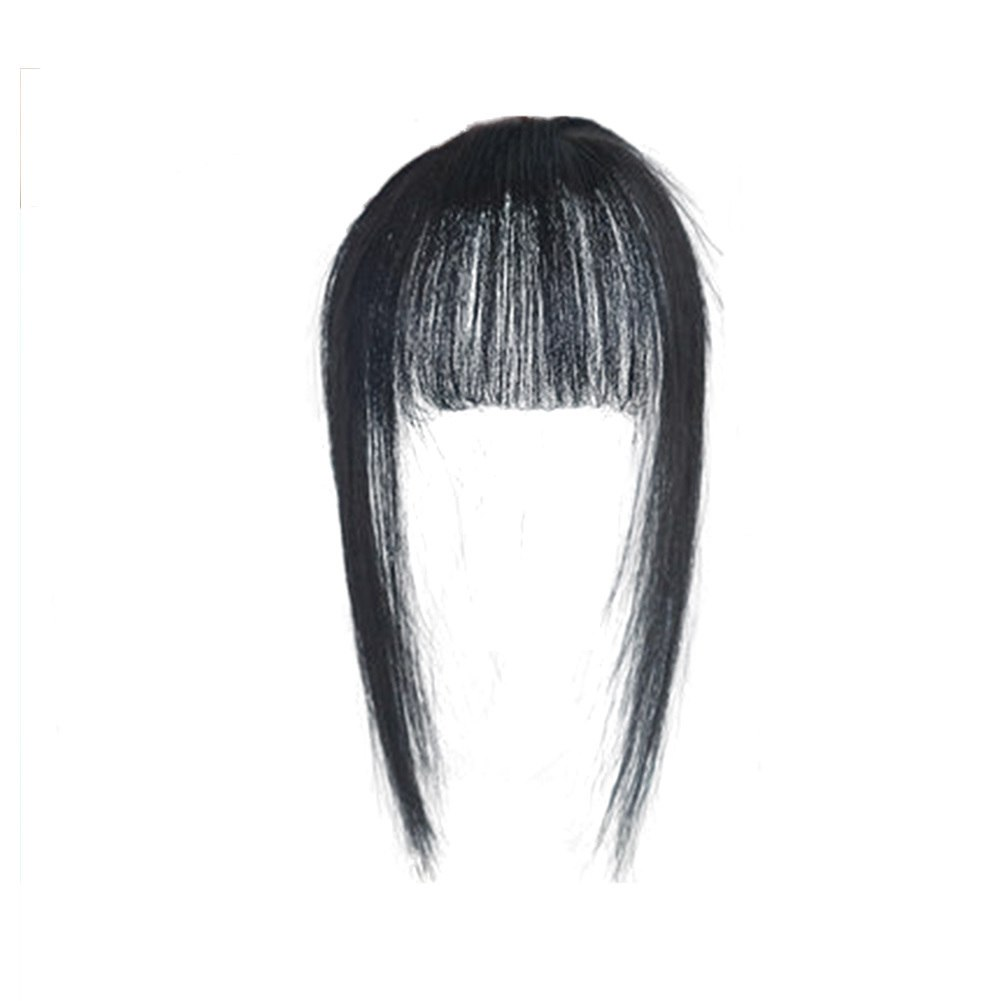 Hair Toupee Neat Bangs Stragight  Mono 3.5*4.5cm Net Breathable Light And Thin Straight Hair Topper For Loss Hair Cover White Hair 0